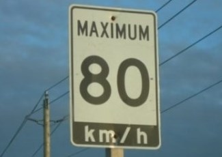 speed sign showing 80 km/hr