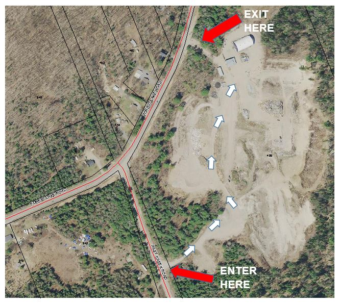 map showing entry to hazmat from Inlet Creek Dr