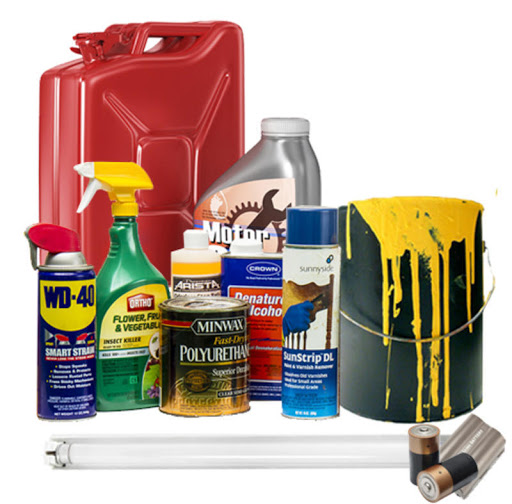 household hazmat items showing florescent bulbs, paint and oil